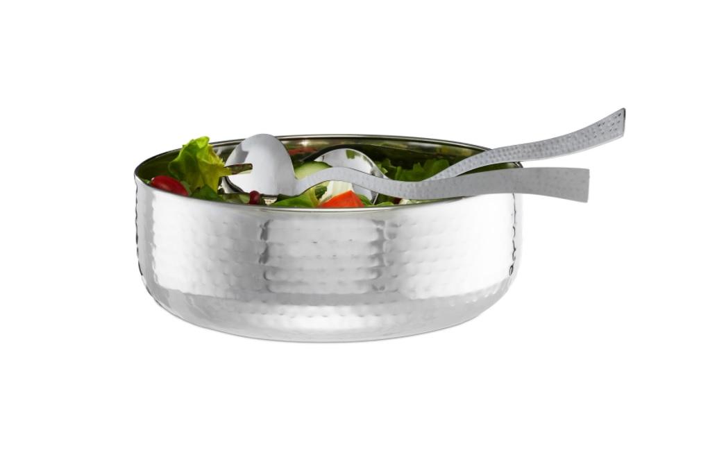 RVS saladeschaal met saladebestek